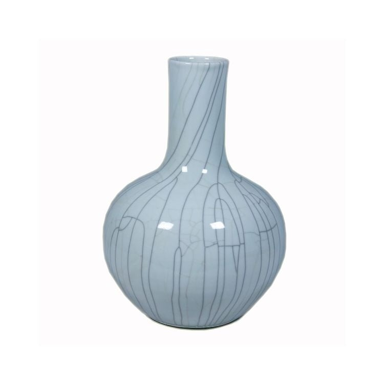 Crackle Globular Floor Vase