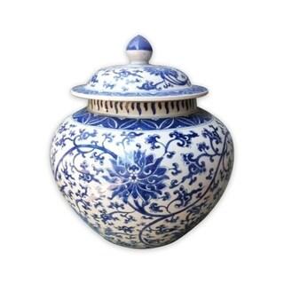 Handmade Twisted Lotus Lidded Melon Jar