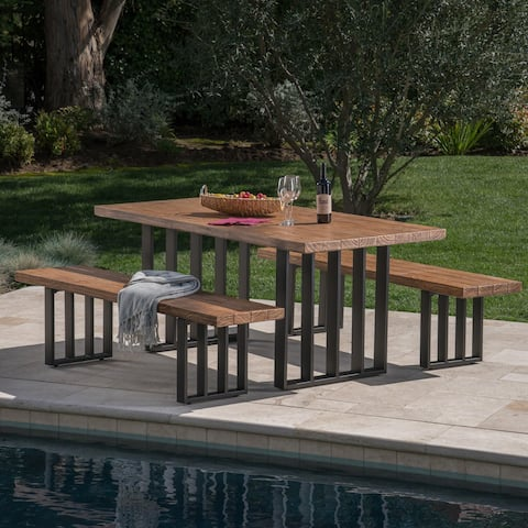 Kantor Outdoor 3-piece Rectangle Light-Weight Concrete Picnic Dining Set by Christopher Knight Home