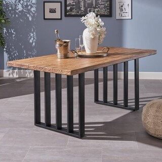 Jayden Farmhouse Rectangle Light-Weight Concrete Dining Table by Christopher Knight Home