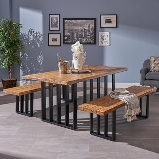 Jayden Farmhouse 3-piece Rectangle Light-Weight Concrete Picnic Dining Set by Christopher Knight Home (2 options available)