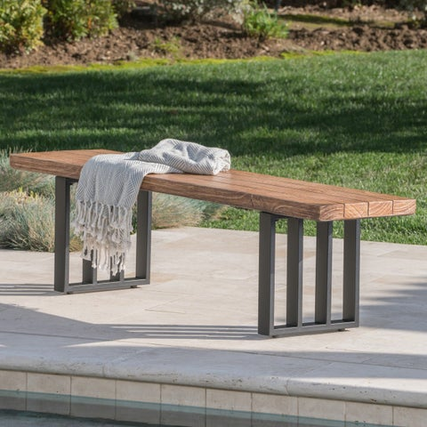 Kantor Outdoor Rectangle Light-Weight Concrete Dining Bench by Christopher Knight Home