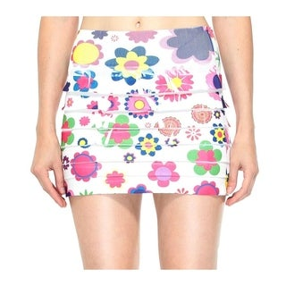 Retrochic Mini Skirt with All Floral Print in Bright Colors, Flower