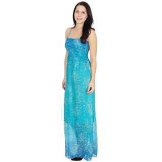 Women's Summer Print Chiffon Empire Waist Maxi Dress, Blue