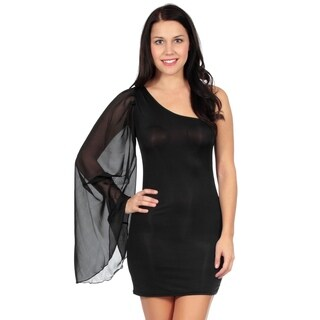 Single Shoulder Black Mini Day Night Dress Cocktail Clubwear for Women