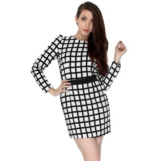 Mini Dress w/ Round Neck & Long Sleeves, Grid Design, White/Black