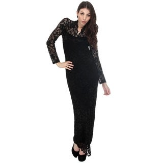 Club Evening Cocktail Party Dress Women Lace Full Long