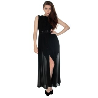Chic Maxi Dress with Round Neck and Front Buttons, Sheer Overlay