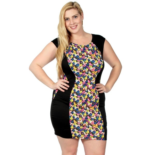 52ad8f74b0 Black Fitted Dress w/ Multicolor Floral Accents, Plus, XL