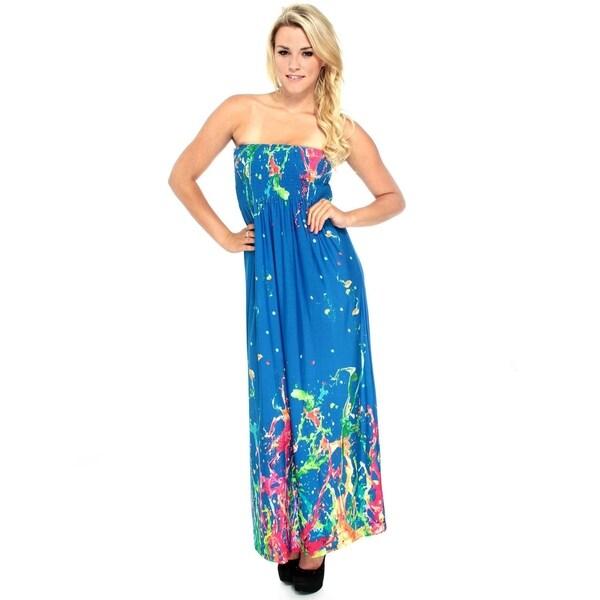 Shop Summer Tube Maxi Dress in Bright Multicolored Splash Print 3422d6f09fa5