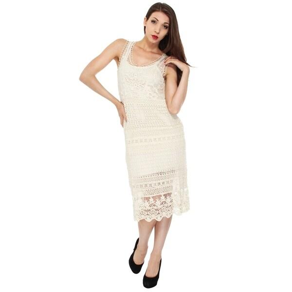 5778d53e094 Shop Sheer Hippie Style Dress in Crochet Knit Pattern