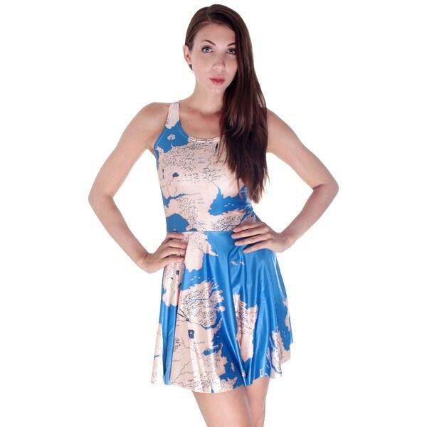 Shop World Map Skater Dress Skirt In Durable Stretch Fibers Free