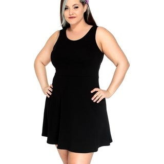Women's Plus Size Solid Color Fit-and-Flare Dress w Strappy Back, Black, 2XL