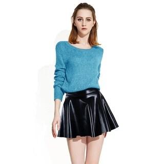 Women's Shiny Disco Mini Skirt Metallic Faux Leather Skirts, Black
