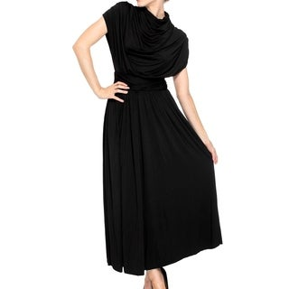 Long Maxi Dress w/ Shirred Cap Sleeves, High Cowl/Turtle Neck, Black