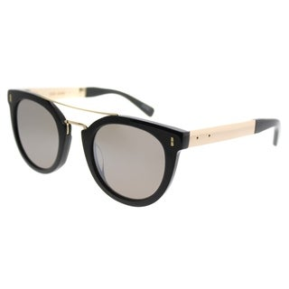 Bobbi Brown Square The TheWoodson 807 Unisex Black Frame Silver Mirror Lens Sunglasses