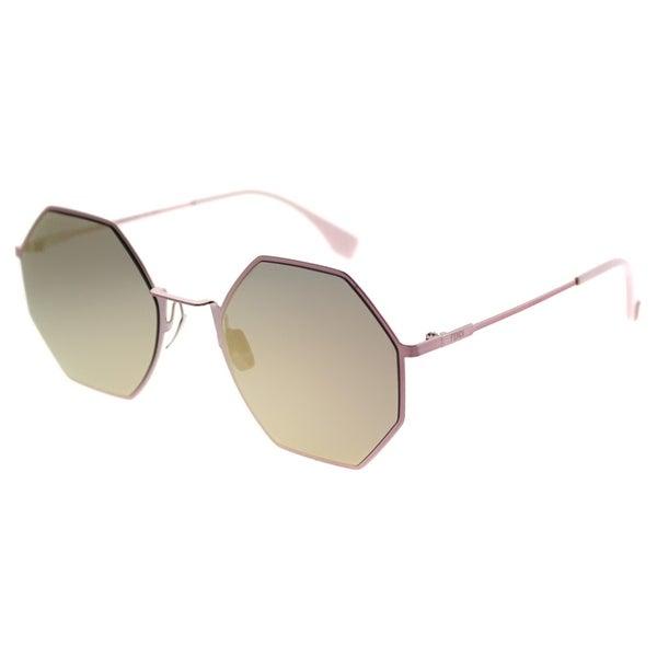 a57589149b Shop Fendi Round FF 0292 Eyeline 35J 0J Unisex Pink Frame Rose Gold Mirror  Lens Sunglasses