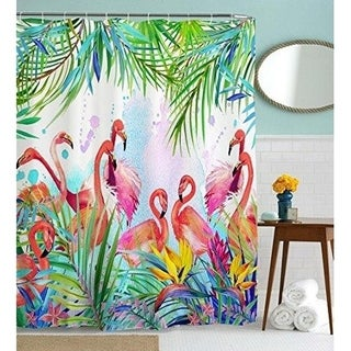 Flamingo Tropical Leaves and Fabric Bathroom Curtains 72W by 72H