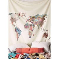 "Floral World Map Tapestry Headboard Wall Bedspread Tapestry,60""x 60"""