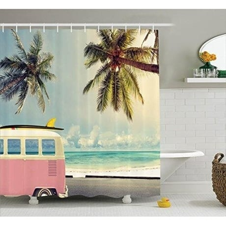 Surf Decor Curtain Set, Bathroom Accessories, 69W X 70L Inches