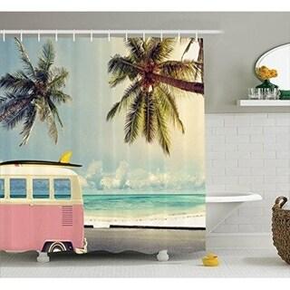 Surf Decor Curtain Set, Bathroom Accessories, 69W X 70L Inches