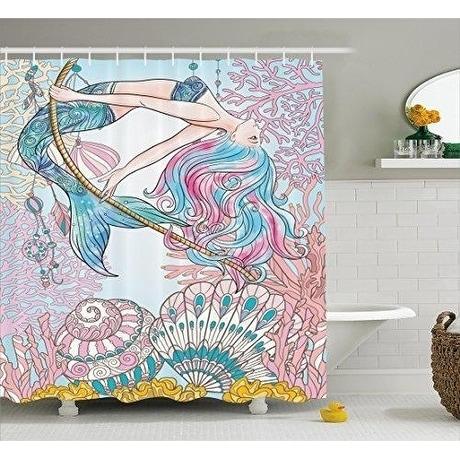 Shop Mermaid Shower Curtain Fabric Bathroom Decor Set 70 Inches Pink Blue