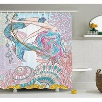 Mermaid Shower Curtain Fabric Bathroom Decor Set 70 Inches, Pink Blue