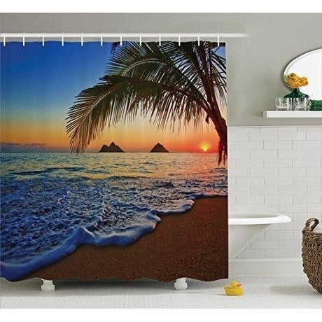 shop hawaiian decor curtain polyester fabric bathroom decor set n rh overstock com bathroom decor stickers bathroom decor sets target
