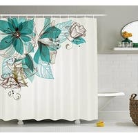 Turquoise Curtain Decor Bathroom Shower Curtain Set, Teal Brown