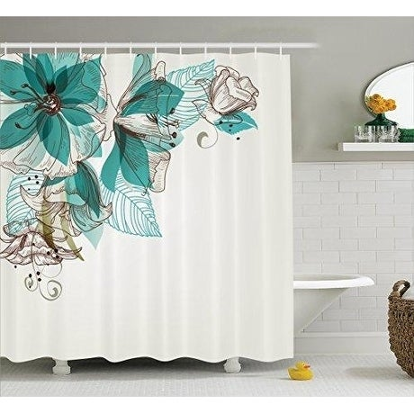Turquoise Curtain Dcor Bathroom Shower Set Teal Brown