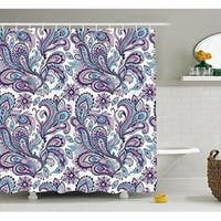Curtain Set Floral Pattern,Bathroom Decor 70 Inches, White Purple Blue
