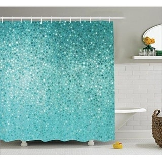 Turquoise Shower Curtain Set Bathroom Accessories, 69W X 70L Inches