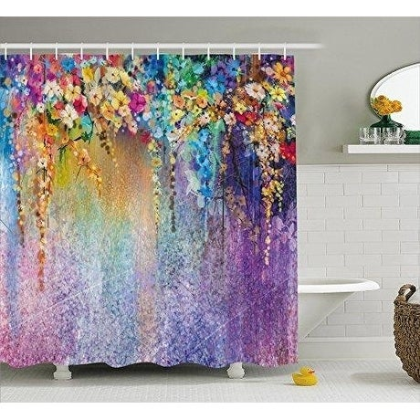 Watercolor Flower Shower Curtain Fabric Bathroom Decor Set 70 Inches