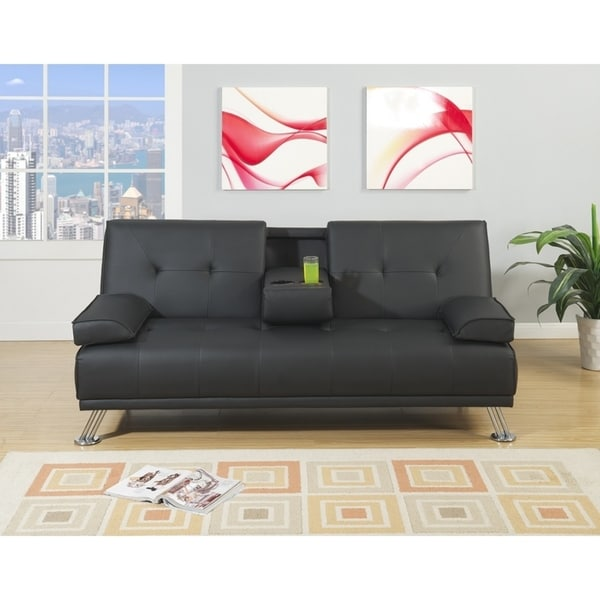 Faux Leather Adjustable Sofa With Cup holder In Black