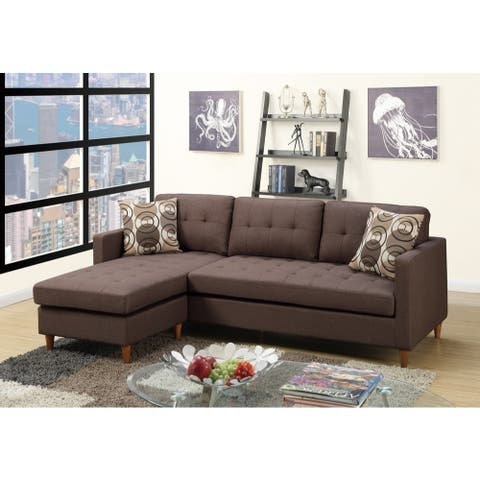 Polyfiber 2 Pieces Sectional With Pillows In Brown