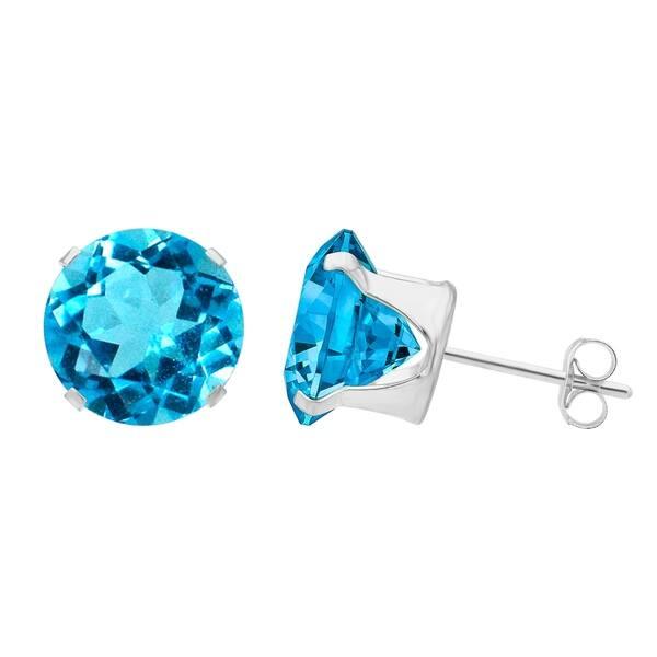 Sterling Silver Aquamarine Cubic Zirconia Pear Stud Earrings