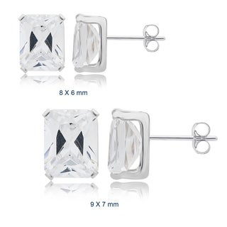 Divina Sterling Silver Emerald Cubic Zirconia Stud Earrings