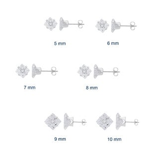 Divina Sterling Silver 9-stone Cubic Zirconia stud Earrings
