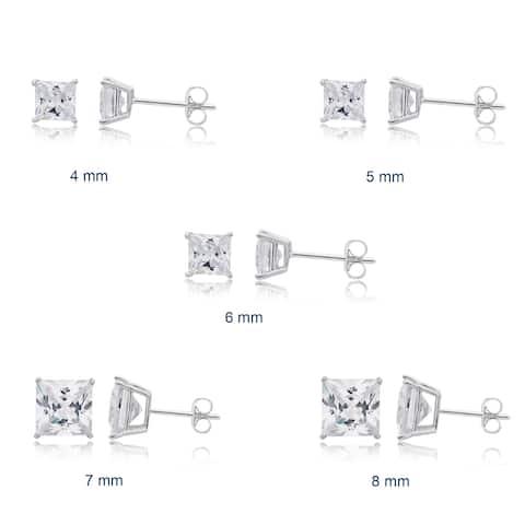 Divina Sterling Silver Princess Cubic Zirconia Stud Earrings