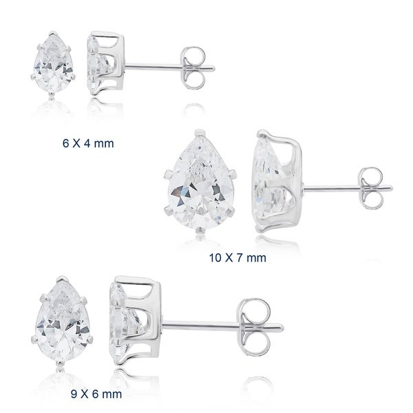 a297280991c9eb Shop Divina Sterling Silver Pear Cubic Zirconia Stud Earrings - On ...