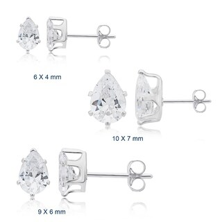 Divina Sterling Silver Pear Cubic Zirconia Stud Earrings