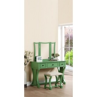 Modish Vanity Set Featuring Stool And Mirror Green