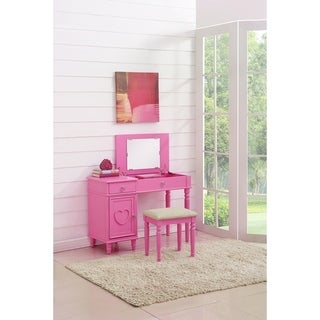 Seraph Vanity Set Featuring Stool And Mirror Pink