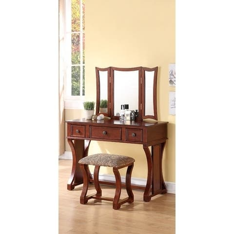 Modish Vanity Set Featuring Stool And Mirror Cherry Brown