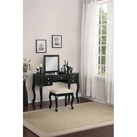 Cherub Vanity Set Featuring Stool And Mirror Black