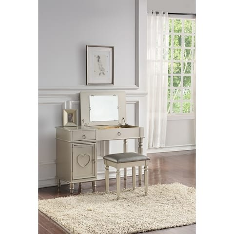 Seraph Vanity Set Featuring Stool And Mirror Silver
