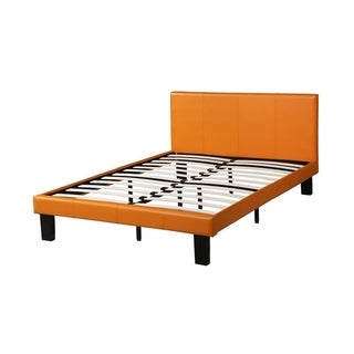 Leather Upholstered Full Size Bed With Slats, Orange