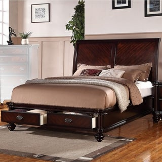 Immaculate Wooden Queen Bed With 2 Under Bed Drawers, Smooth Cherry Finish