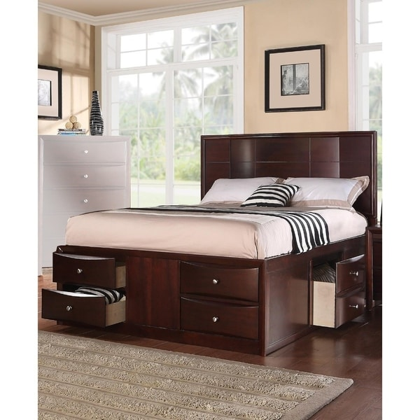 Commodious Queen Bed With 6 Under Bed Drawers, Espresso Finish