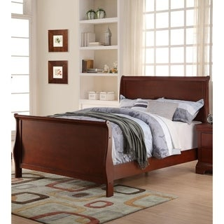 Clean And Convenient Full King Wooden Bed, Cherry Finish